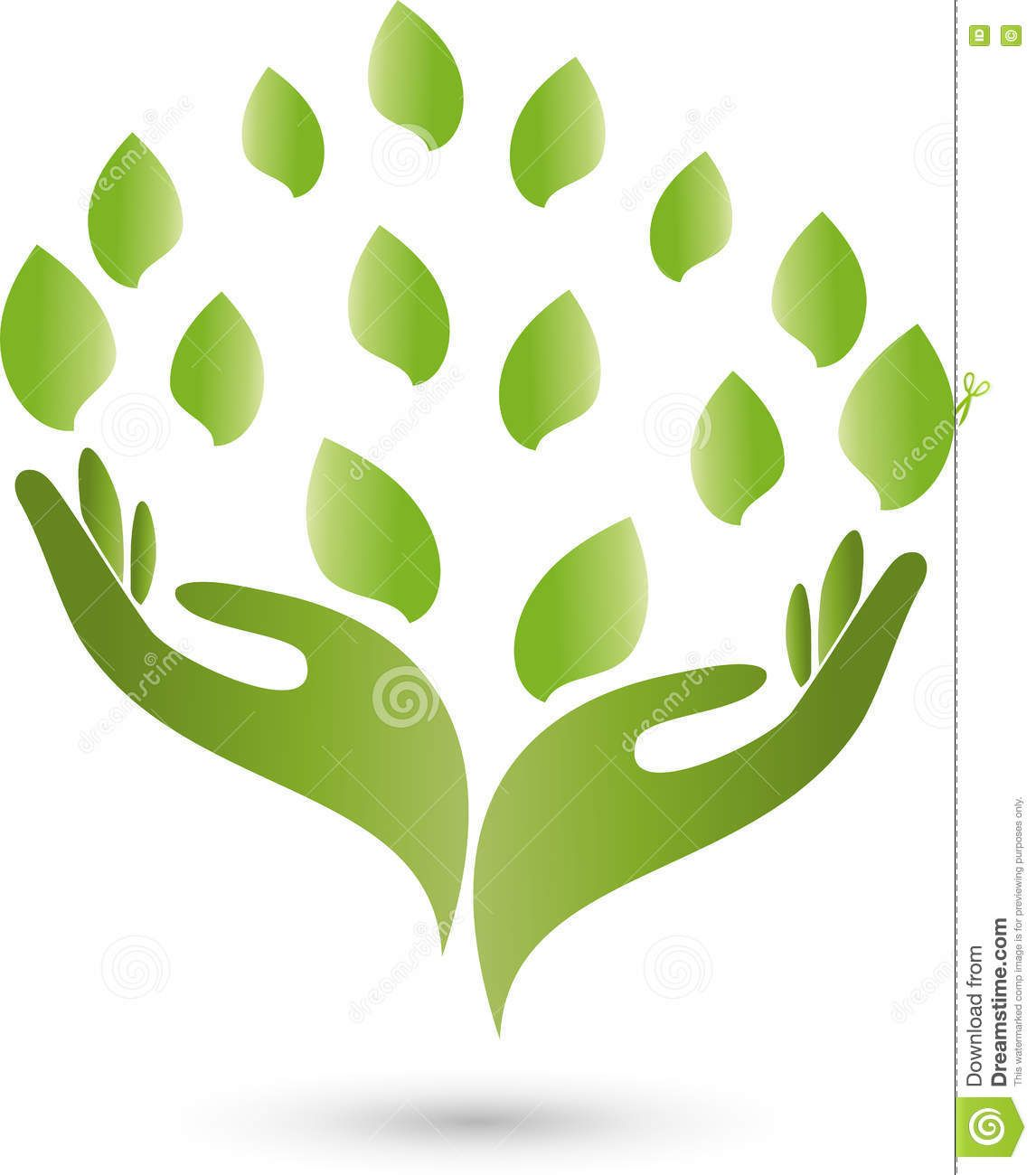 Hands, leaves, naturopath and nature logo.