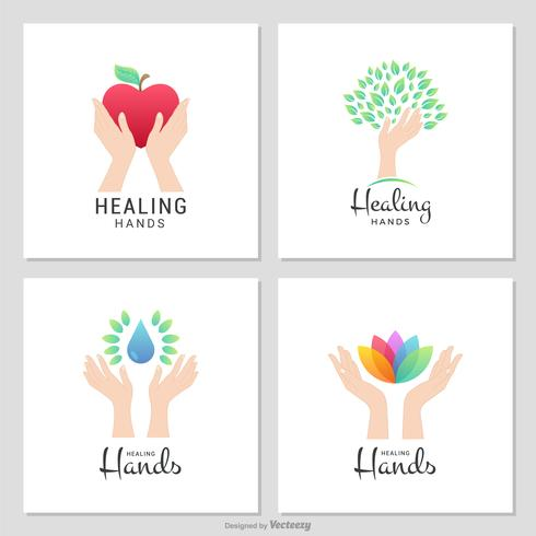 Charity And Healing Female Hands Vector Logos.