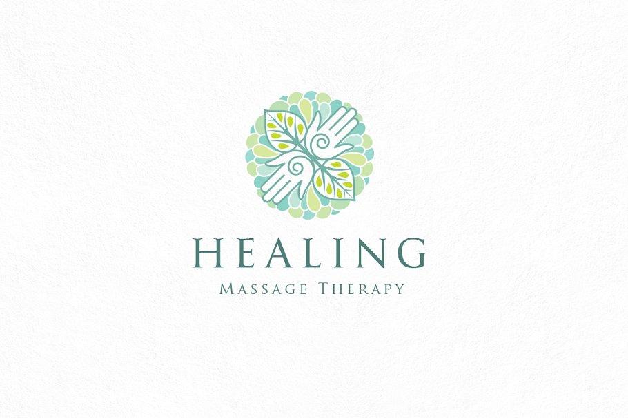 Healing massage logo template.