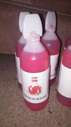 Potion of Healing: Minecraft potion drinks (red juice bottle.