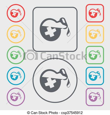 Vector Clip Art of life healing potion decanter bottle icon sign.