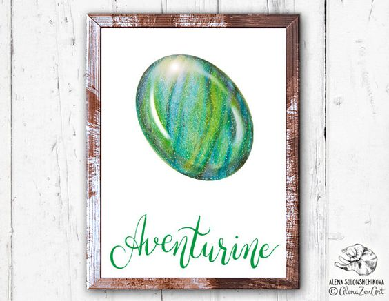 Buy 1 Get 1 Free Print art Aventurine Rose Quartz Heart Chakra.