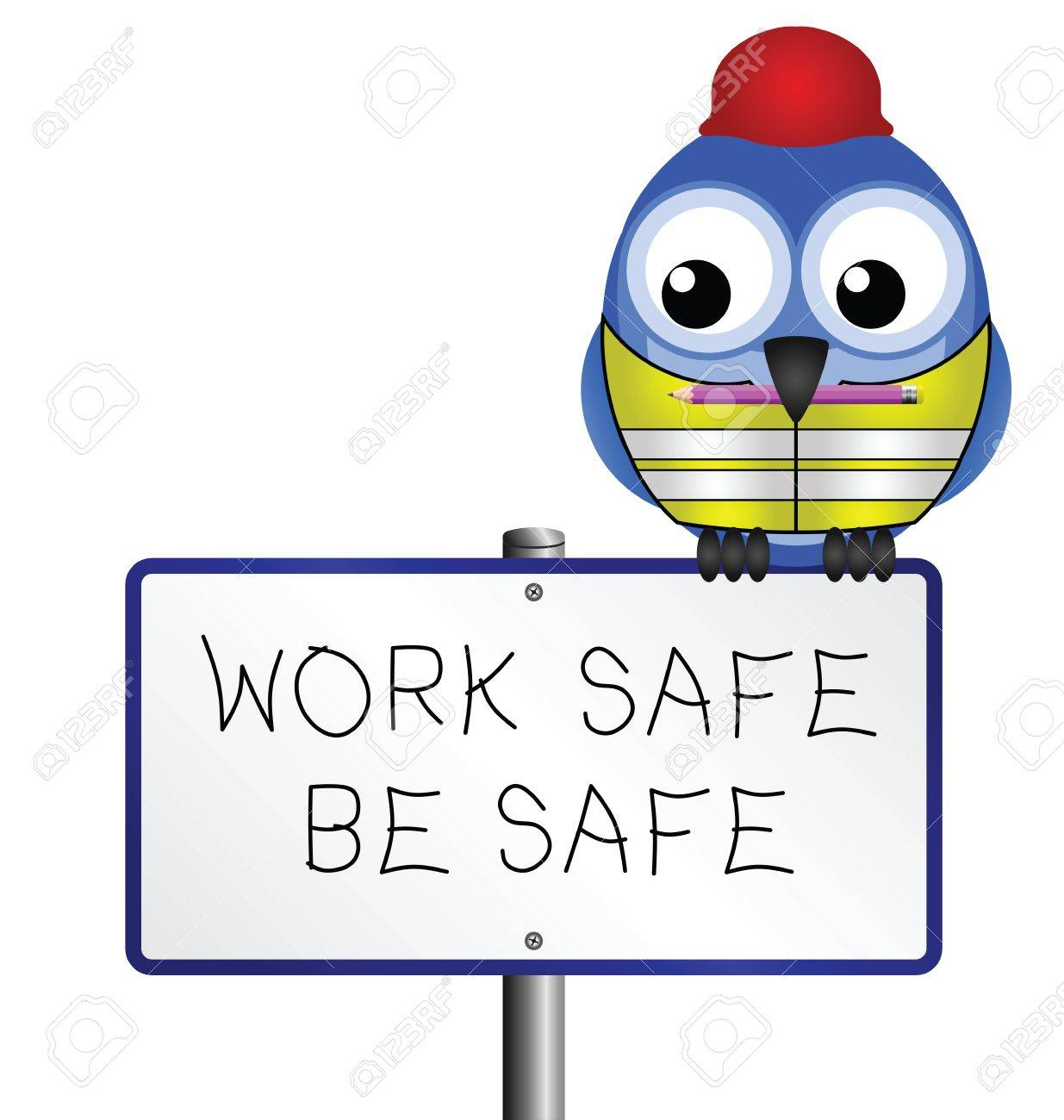 Bird with construction health and safety message.