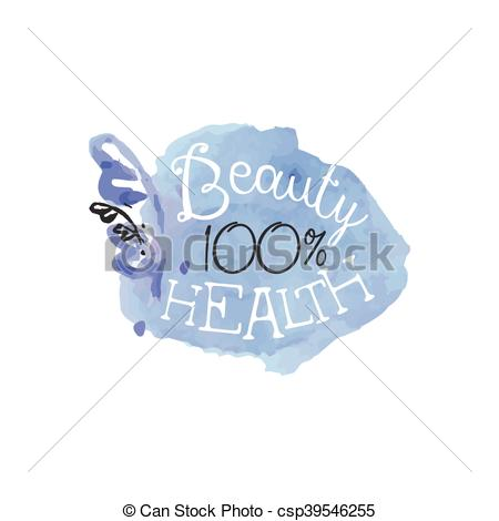 Clipart Vector of Percent Health Beauty Promo Sign.