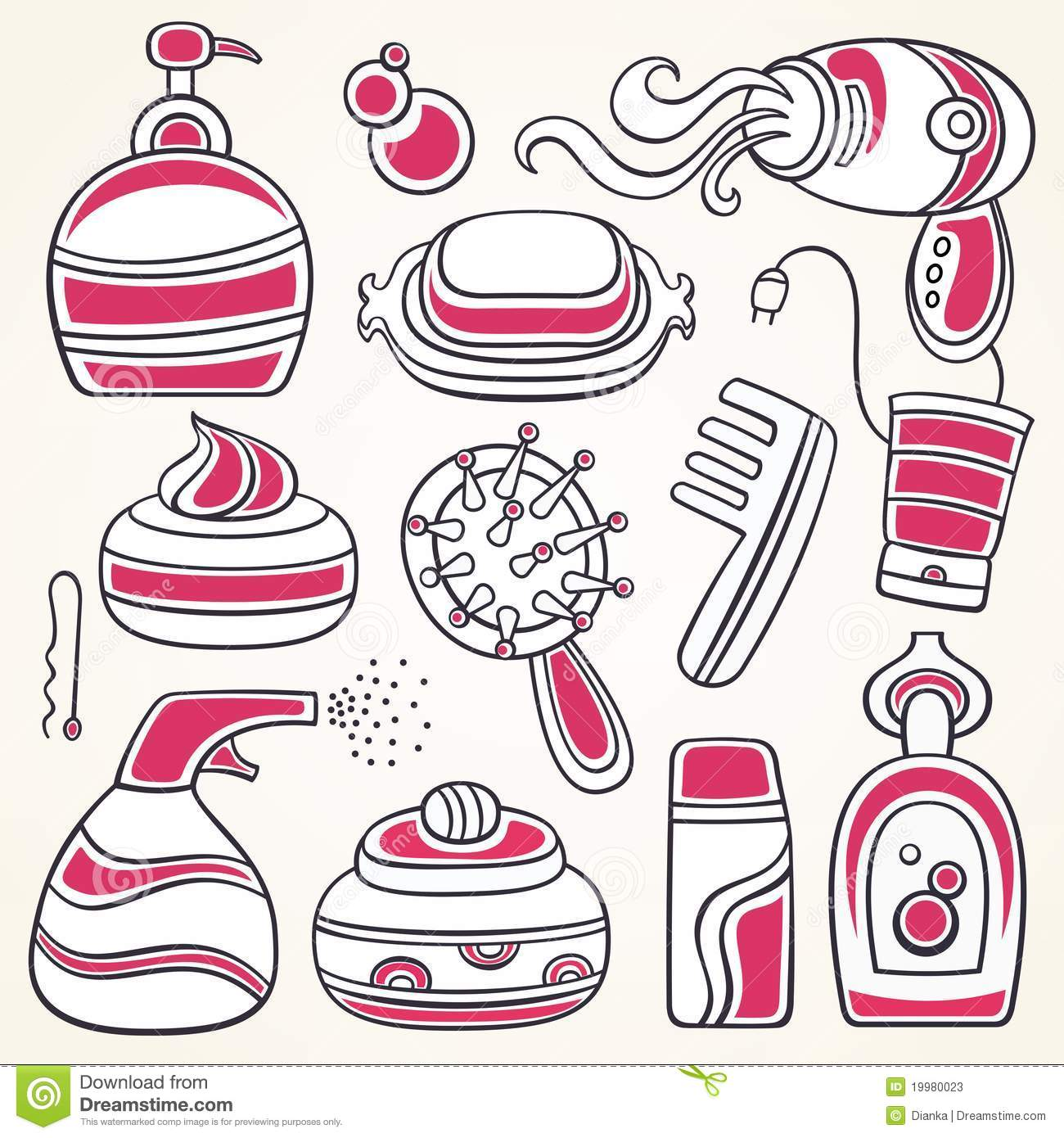 Health And Beauty Supplies Icons Stock Photos.