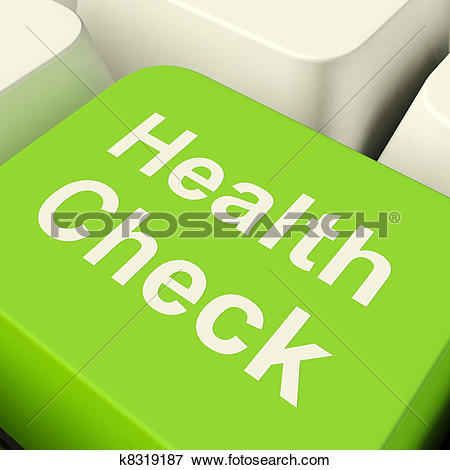 Picture of Health Check Computer Key In Green Showing Medical.