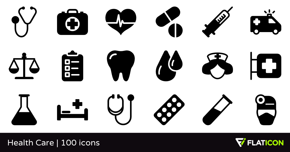 Health Care 100 free icons (SVG, EPS, PSD, PNG files).