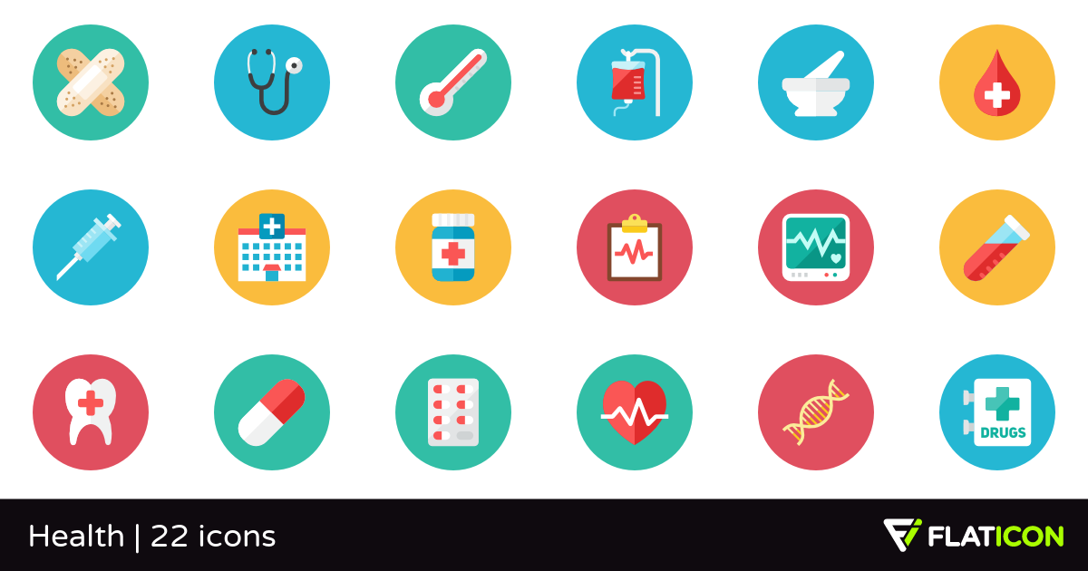 Health 22 premium icons (SVG, EPS, PSD, PNG files).