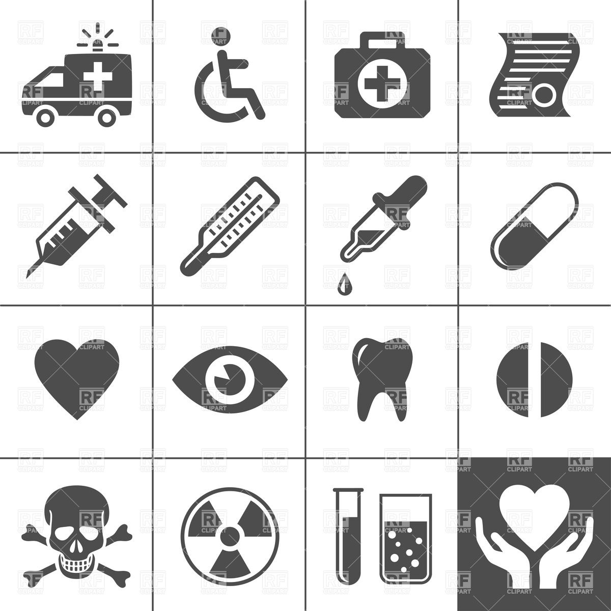 Medical and health care simple icon set Stock Vector Image.