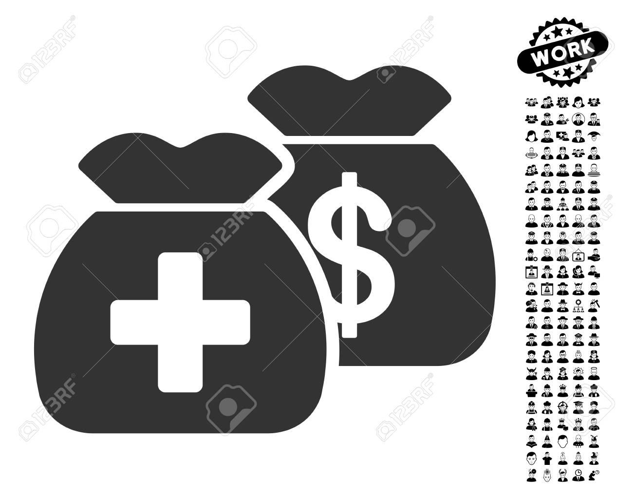 Health Care Funds icon with black bonus work clip art. Health...