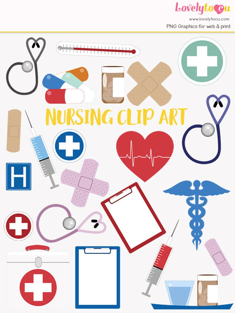Nursing clip art set, hospital healthcare, nurse and doctor clipart symbols  (LC01).