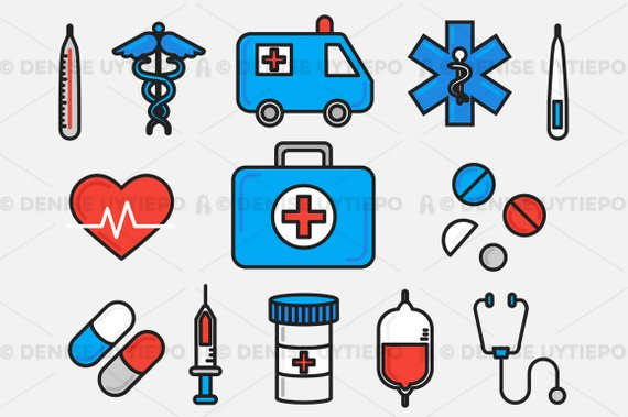 Medical Clipart / Healthcare Clipart / Hospital Clipart Set Outlined.