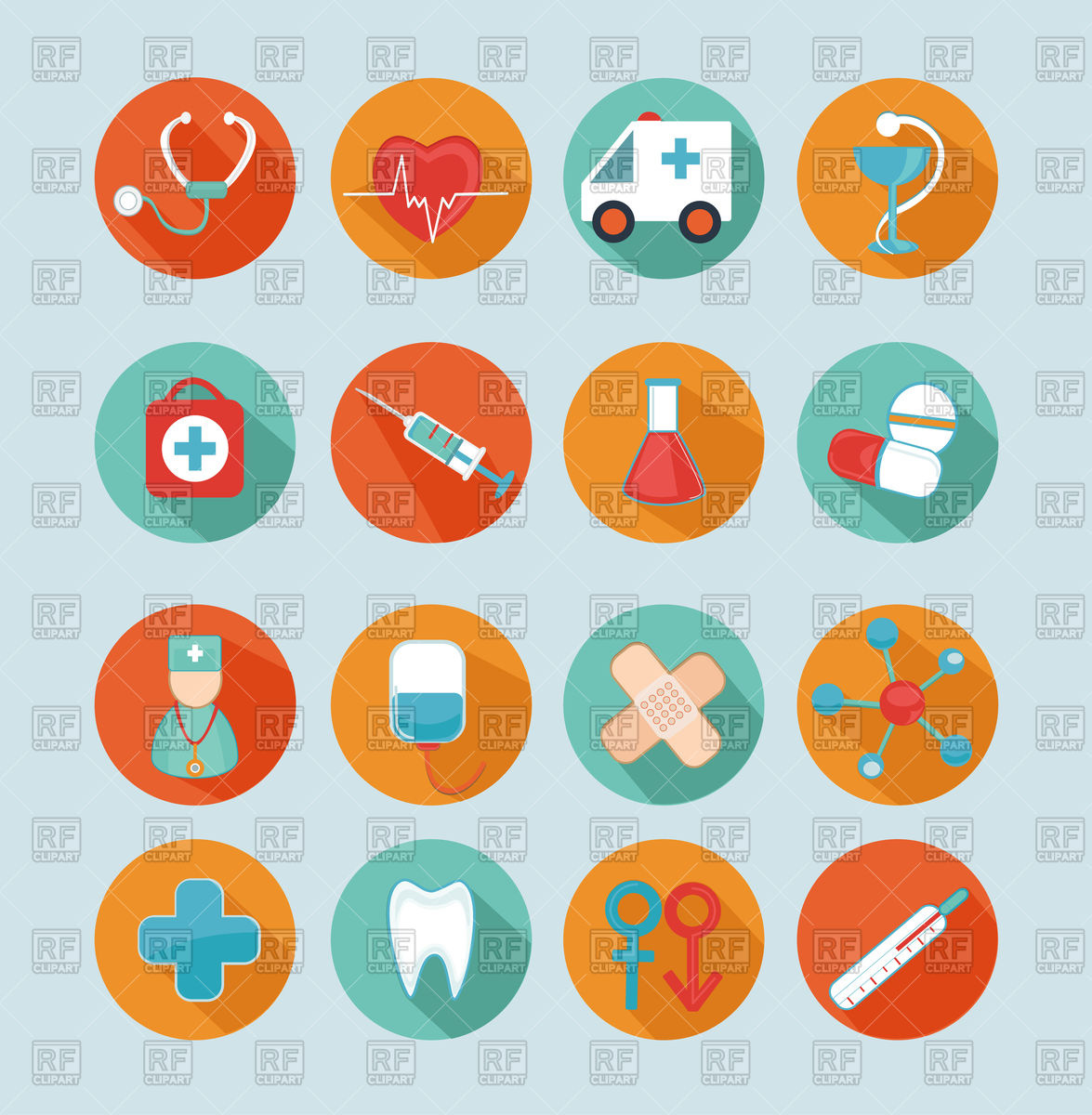 Set of 16 medical flat icons, signs, symbols Stock Vector Image.
