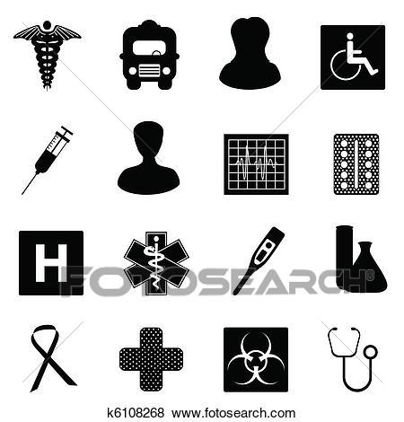 Medical and healthcare symbols Clip Art.