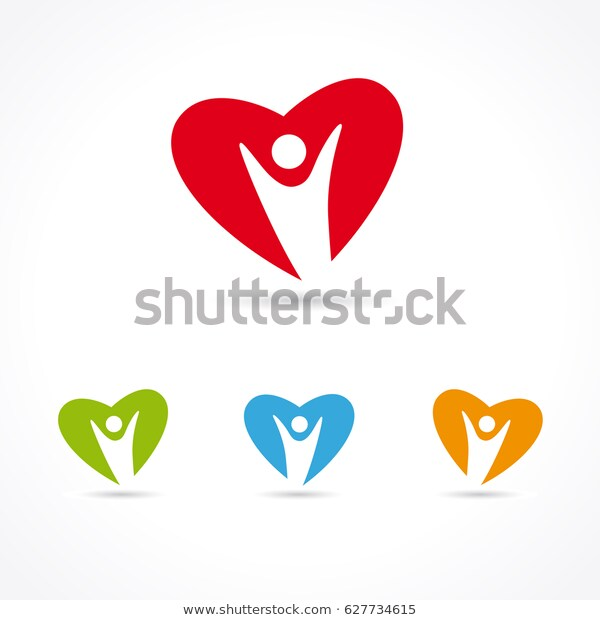 Healthcare Medical Symbol People Heart Colored Stock Vector (Royalty.
