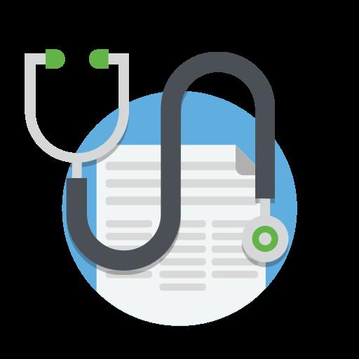 Doctor, drug, healthcare, medical, medicine, notes, stethoscope icon.