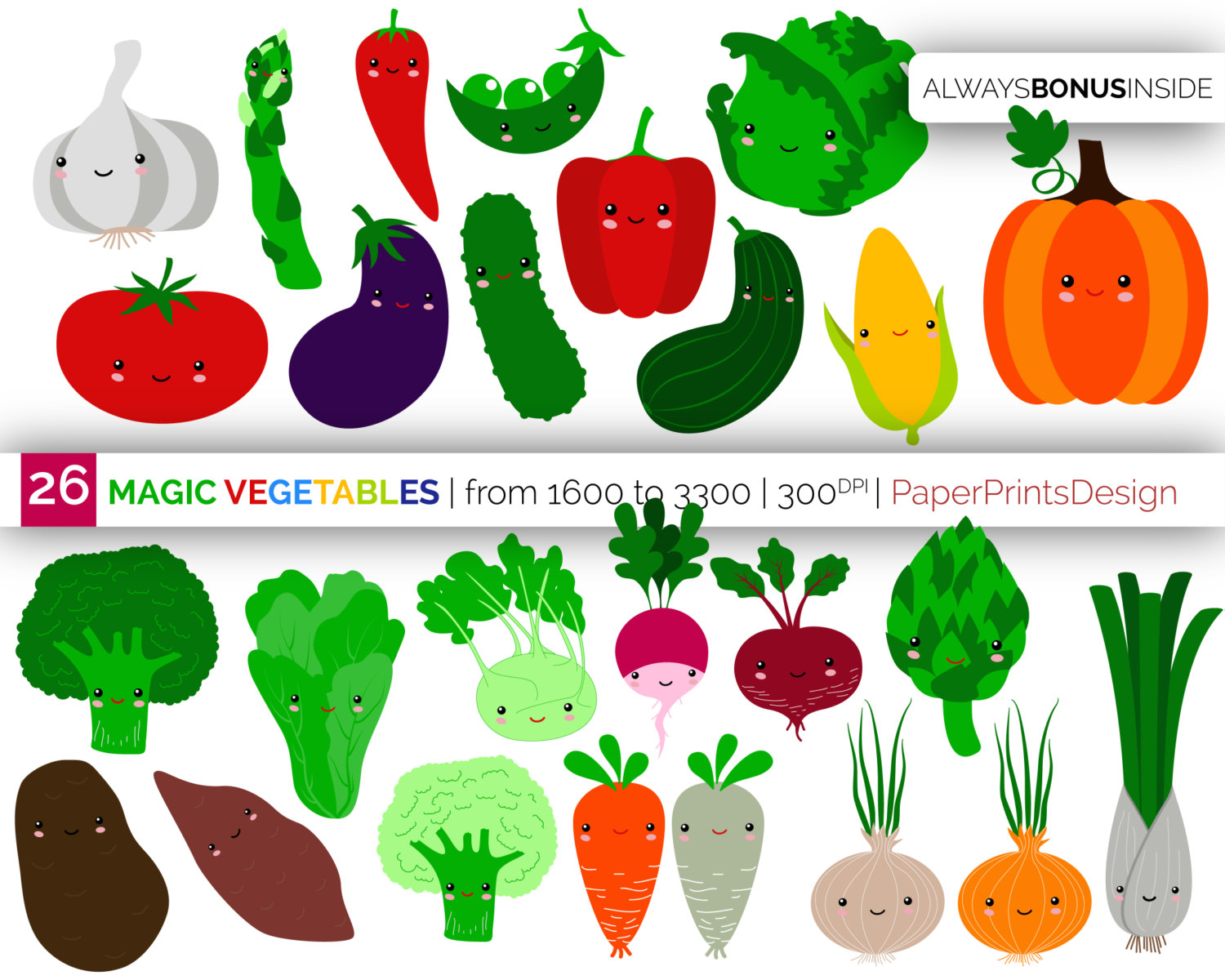 Healthy vegetables clipart.
