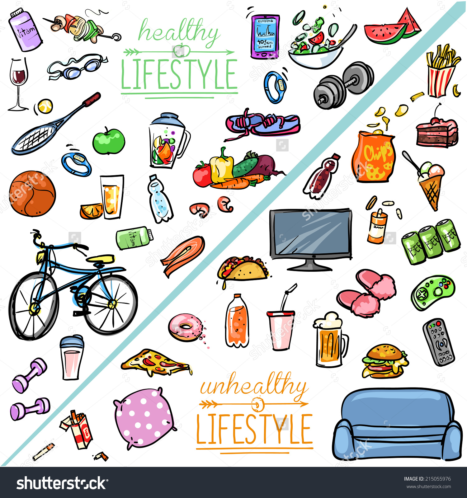Healthy Lifestyle Vs Unhealthy Lifestyle Hand Stock Vector.