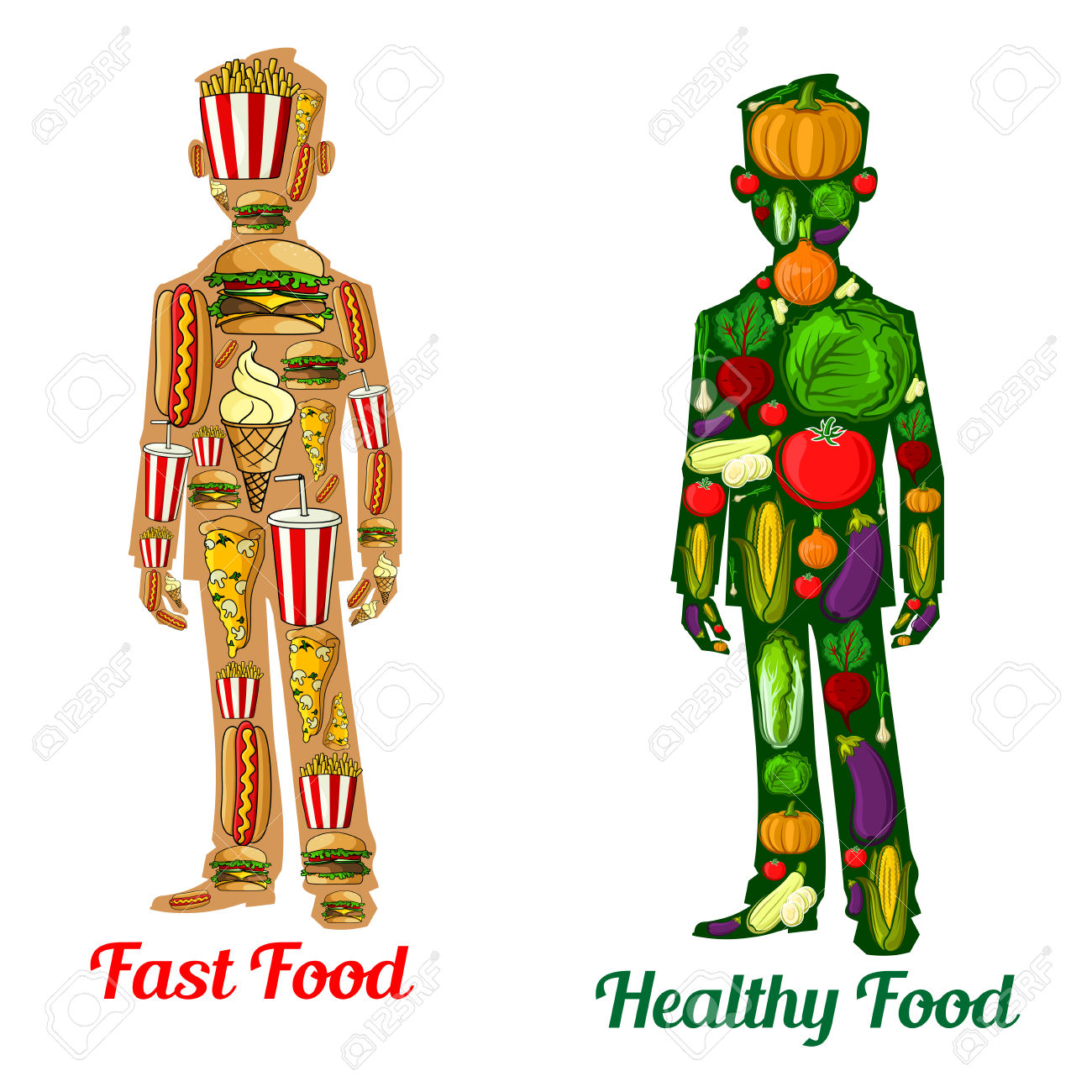 healthy and unhealthy person clipart clipground