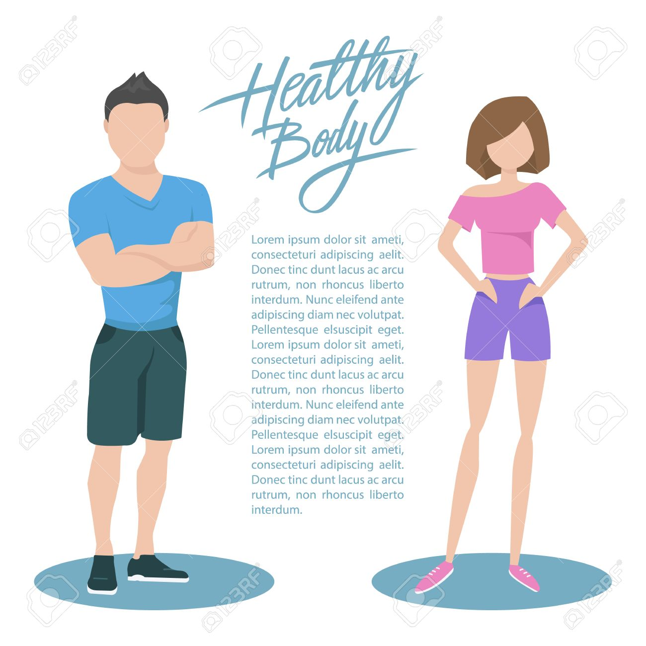 Fitness couple with handwritten inscription Healthy body. Healthy...