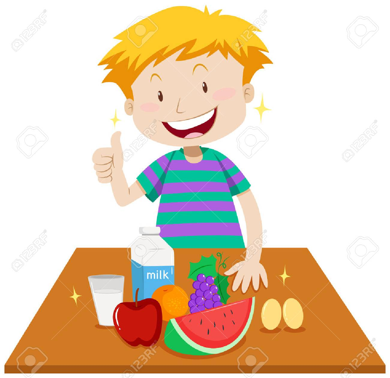 Little boy and healthy food on table illustration.