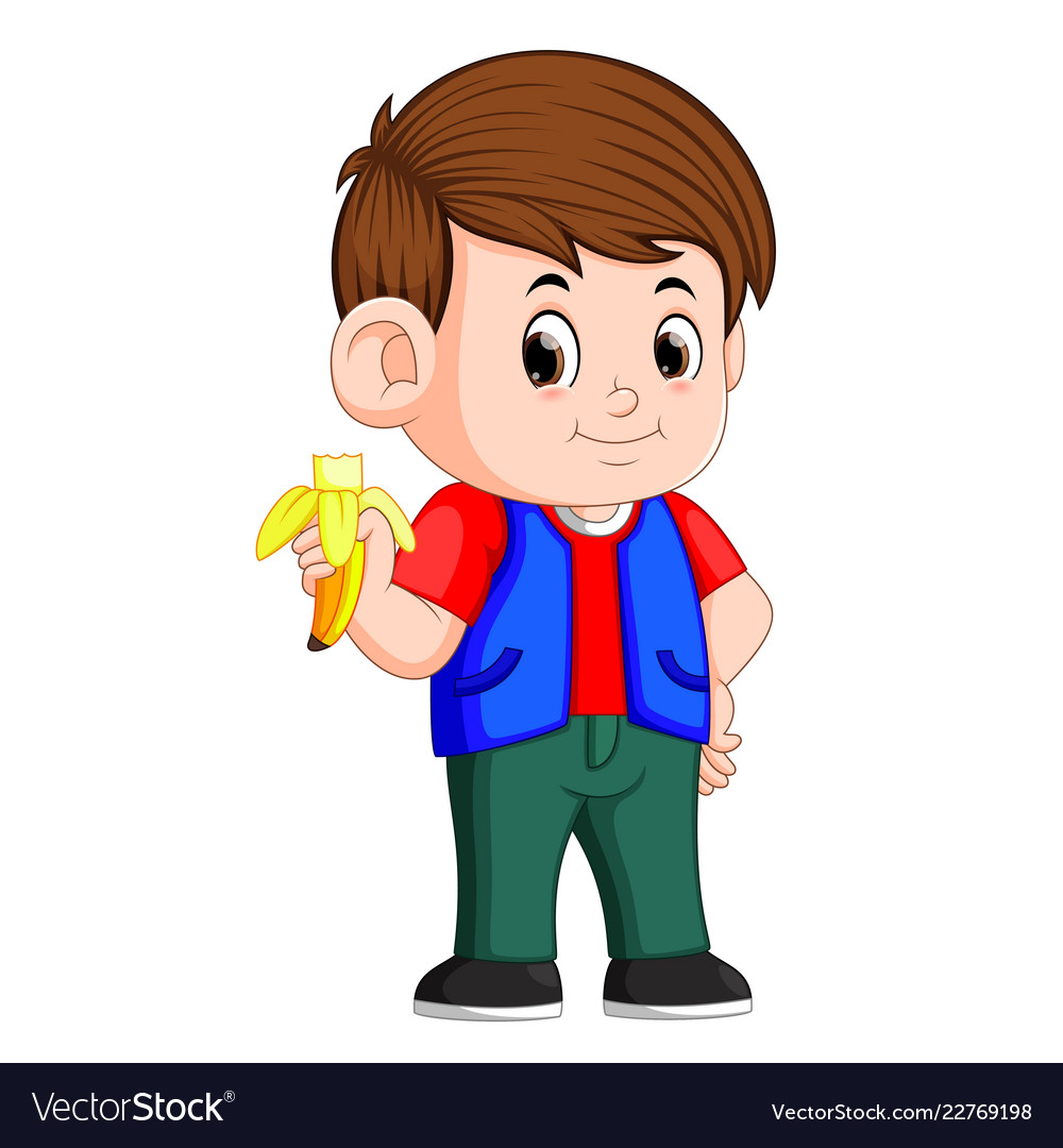 Healthy little boy eating banana.