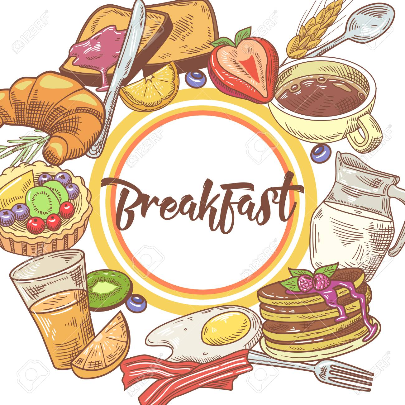 Healthy Breakfast Hand Drawn Design with Pancakes, Fruits and...