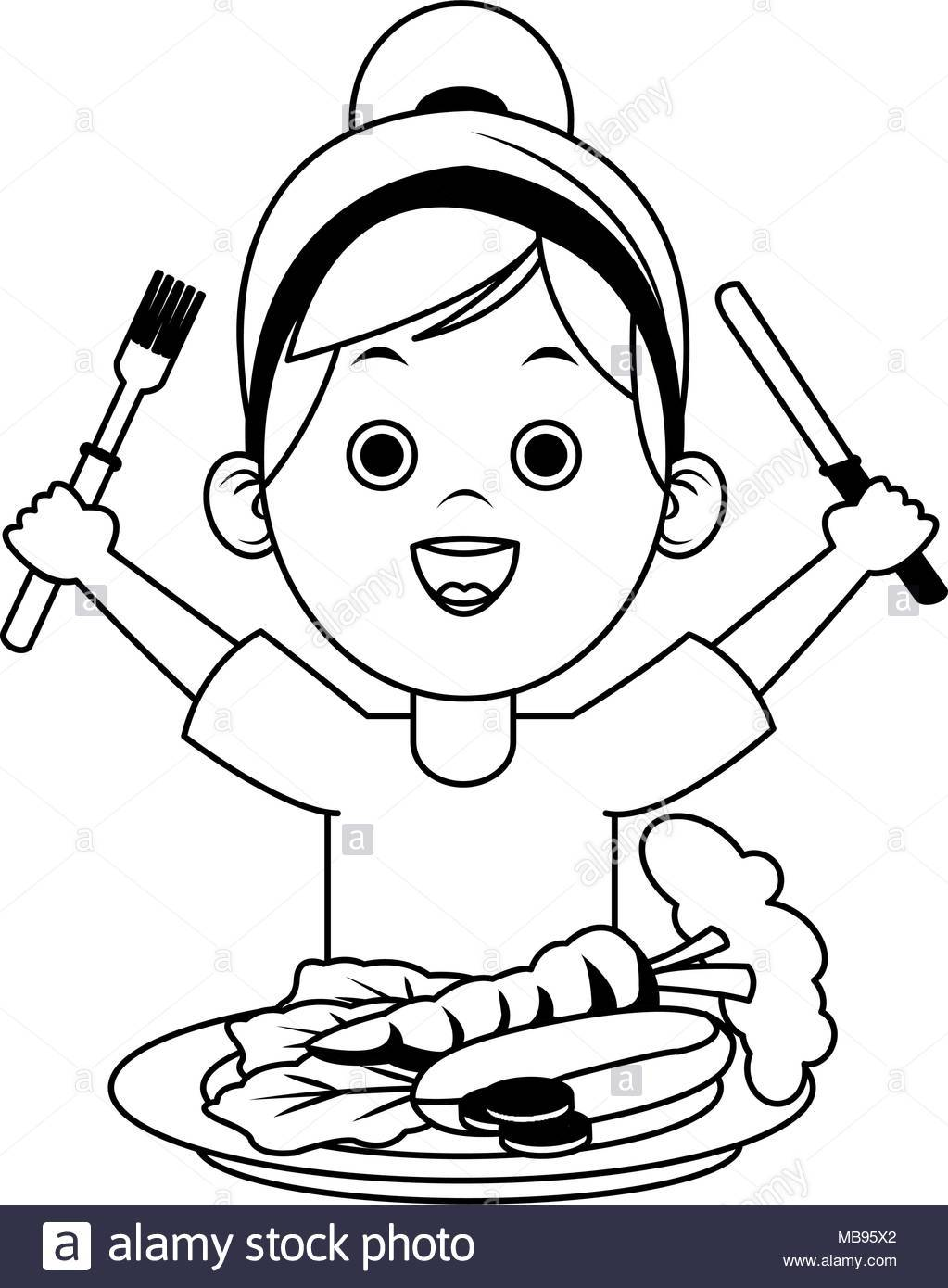 Child eating healthy food clipart black and white 6 » Clipart Portal.