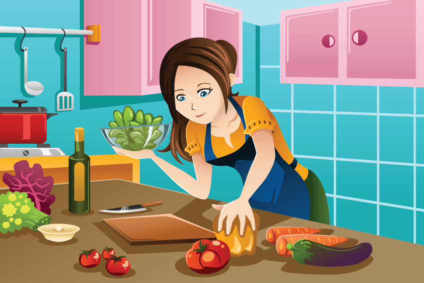 Woman Cooking Healthy Food in The Kitchen.