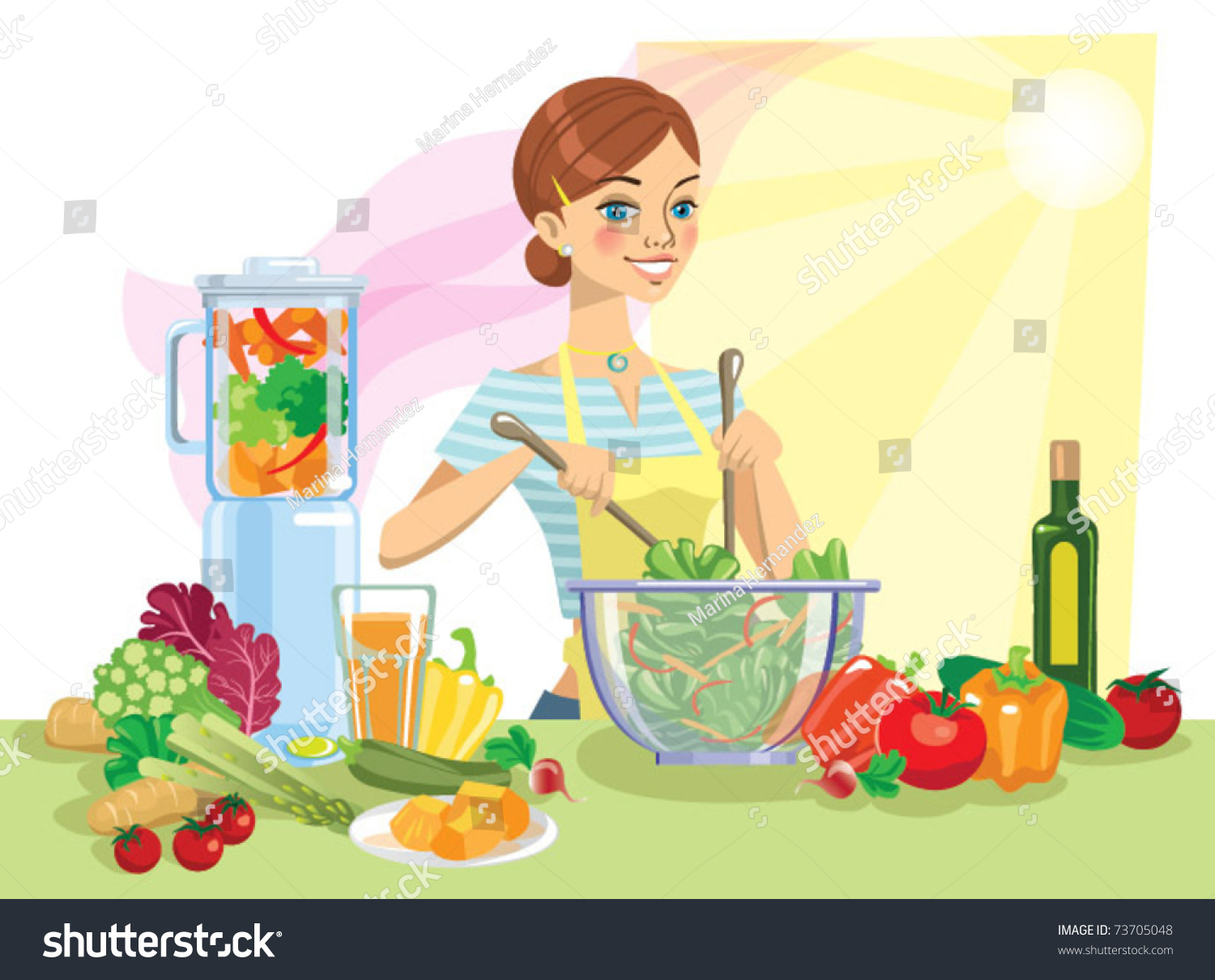 Young Woman Cooking Healthy Food Stock Vector (Royalty Free) 73705048.