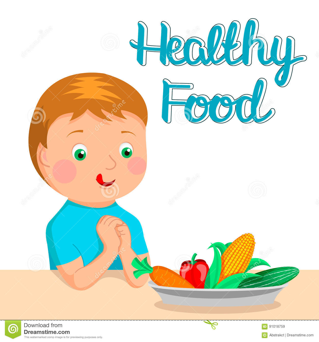 Boy Eating Healthy Food Clipart.