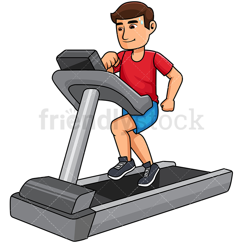 Man Exercising On A Treadmill.