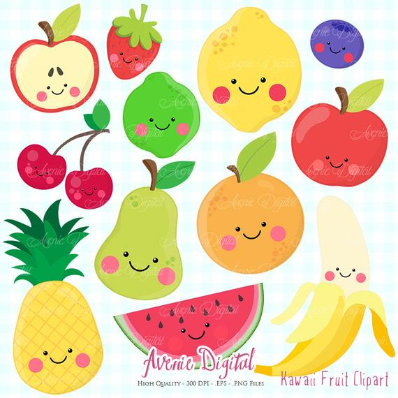 Kawaii Fruit Clipart. Scrapbook printable, Vector .eps and png healthy food  clip art set. Apple lemon banana cherry pineapple orange.
