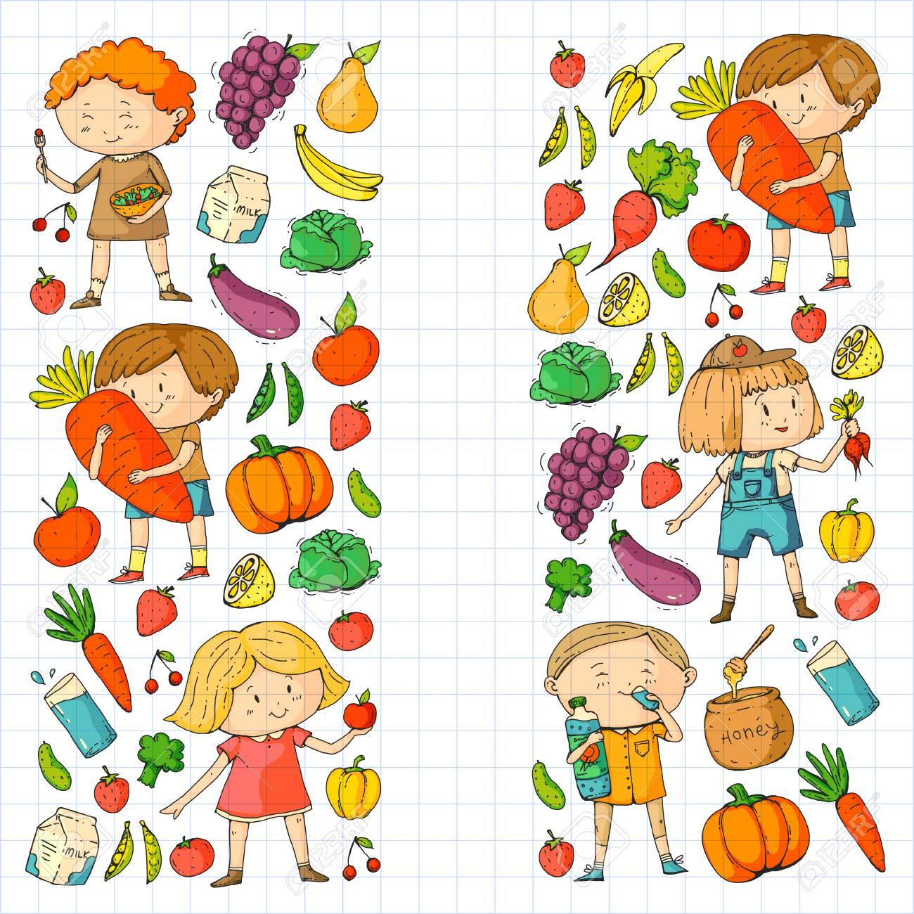Children. School and kindergarten. Healthy food and drinks. Kids...