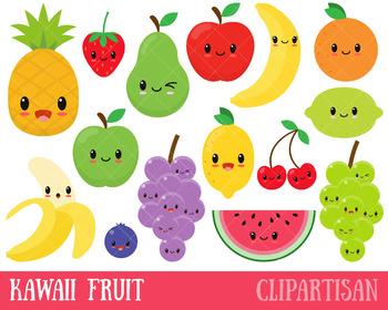 Happy Fruit Clip Art, Kawaii Fruit, Healthy Foods.