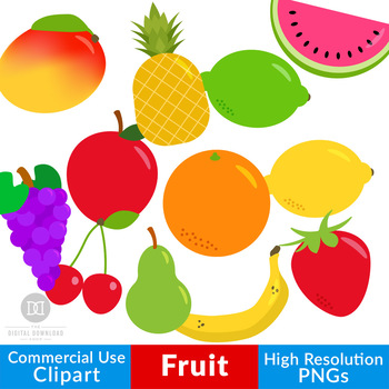 Fruit Clipart, Fruit Graphics, Healthy Foods Clipart, Pineapple, Apple,  Lemon.