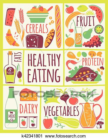 Vector illustration of Healthy Food. Clipart.