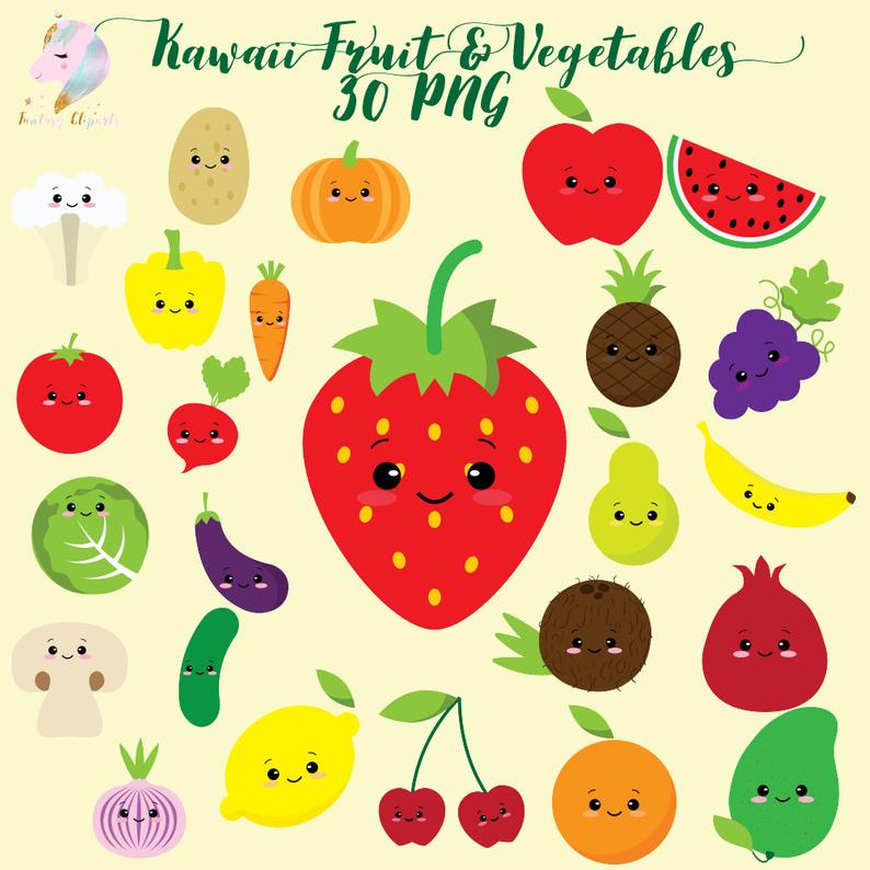 Cute fruit clipart, kawaii vegetables, vegetable clip art, colorful fruits,  cute healthy food, kids clipart set, planner sticker png, sweet.