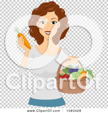 Clipart Healthy Woman With A Basket Of Produce.