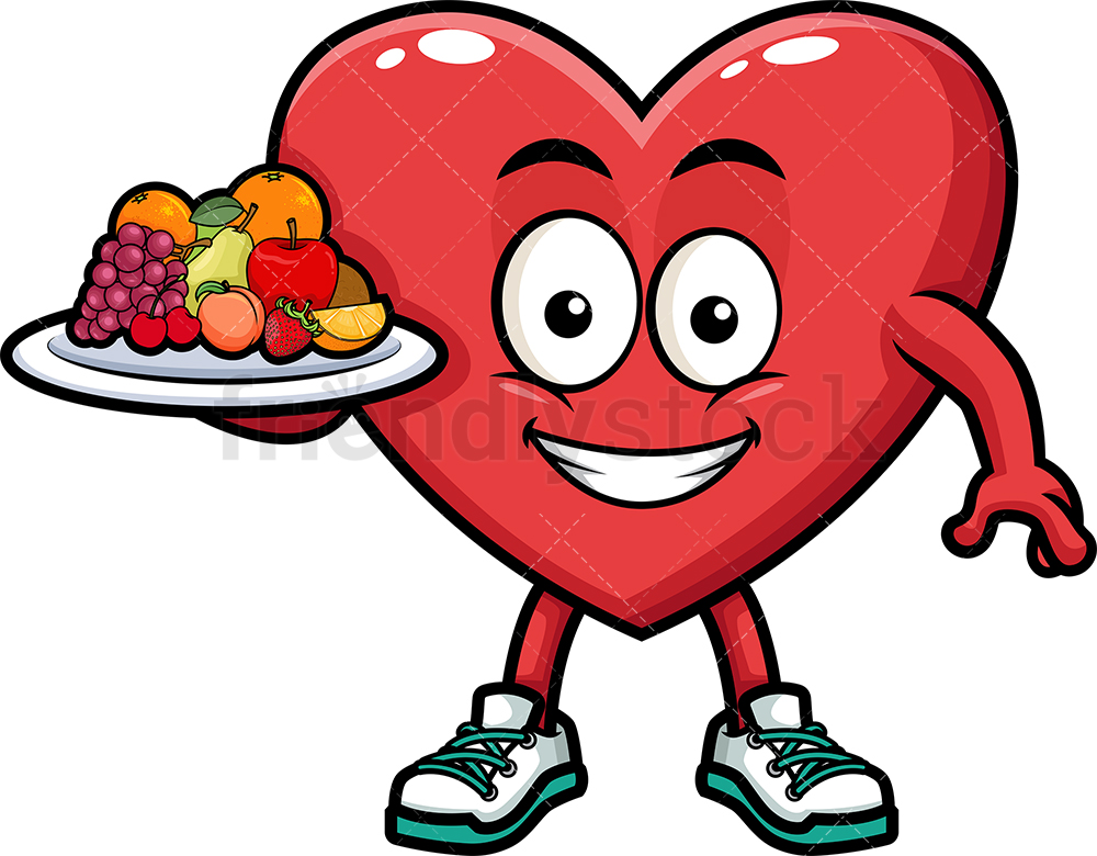 Heart Holding Healthy Fruit.