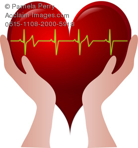 Clip Art Image Of Hands Holding A Heart With A Heart Rate Going.