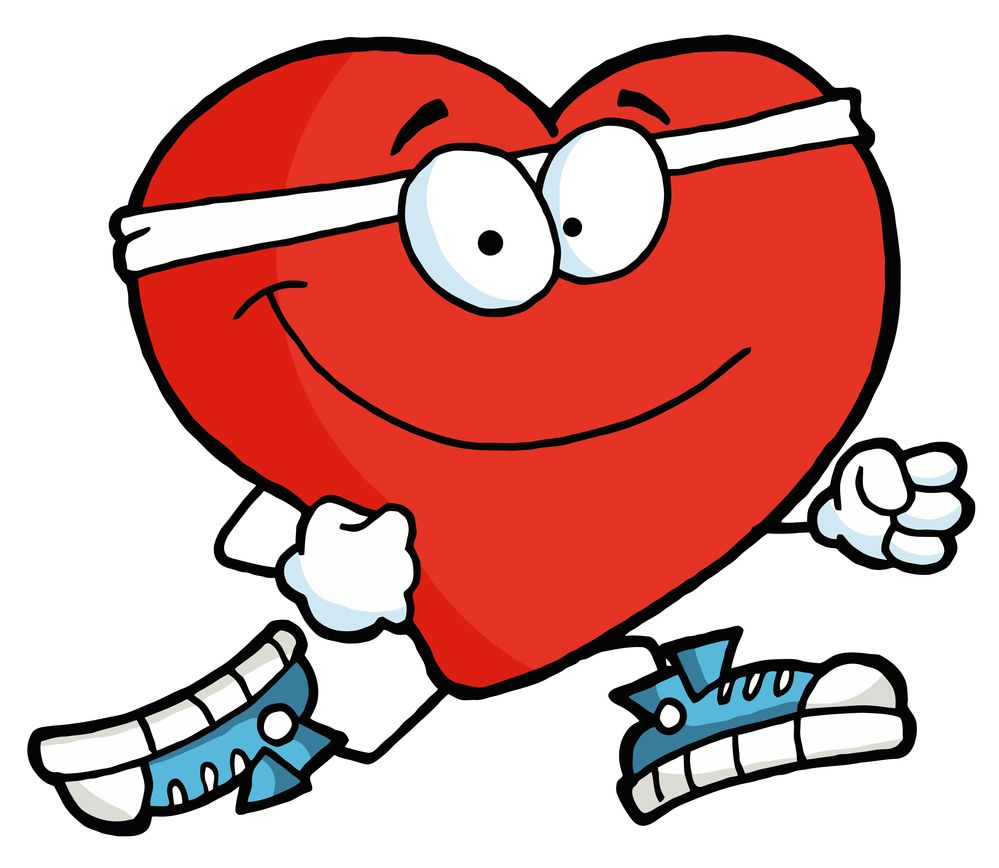 Image for Clipart Illustration of a Healthy Red Heart Running Past.
