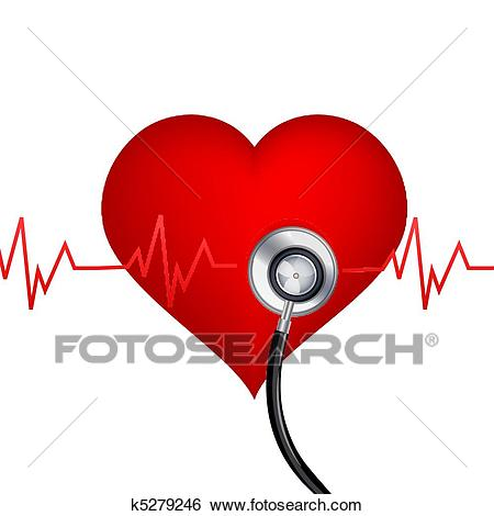 Healthy heart with stethoscope Clip Art.