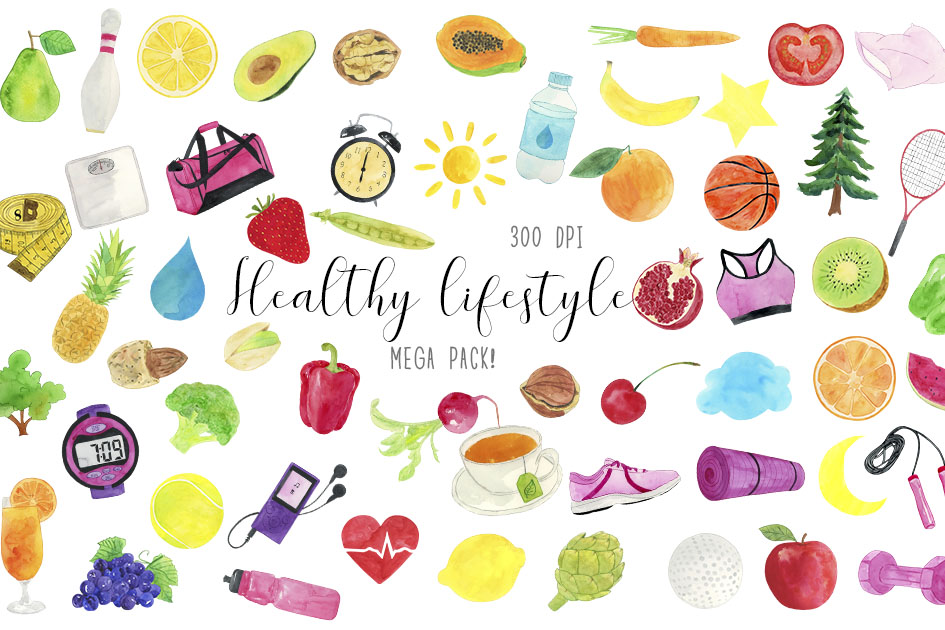Watercolor Heathy Lifestyle Clipart, Healthy Life Clipart.