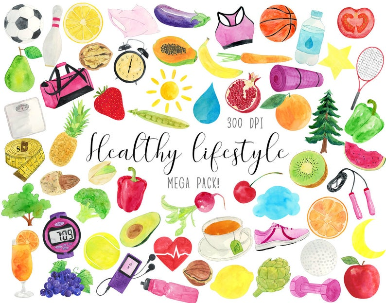Watercolor Healthy Lifestyle Clipart, Healthy Life Clipart, Fitness  Clipart, Healthy Graphics, Health Clipart, Live Health Clipart.