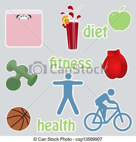Vector Clipart of Diet, fitness and healthy living icon set.