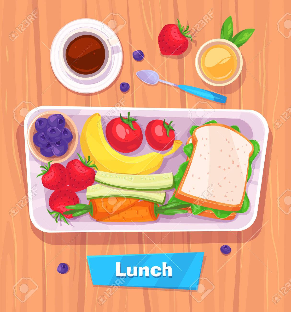 Healthy lunch with banana. berries, sandwich, coffee and juice.