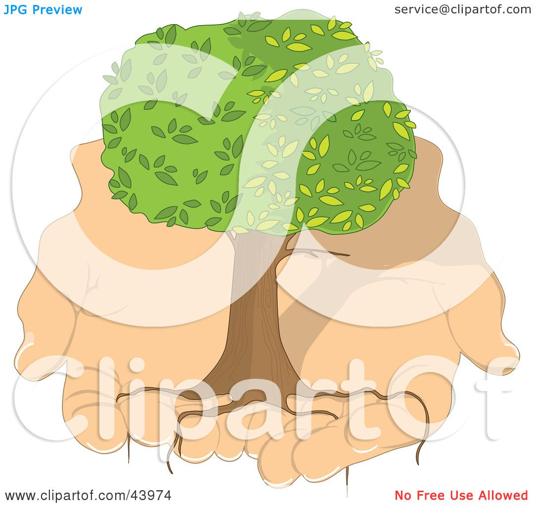 Clipart Illustration of a Healthy Tree With Long Roots Being Held.