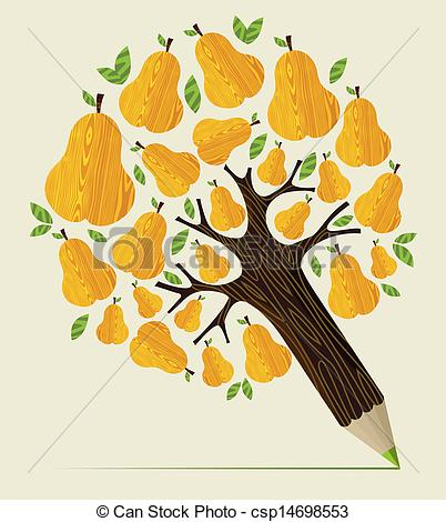 Clipart Vector of Healthy fruit concept tree.