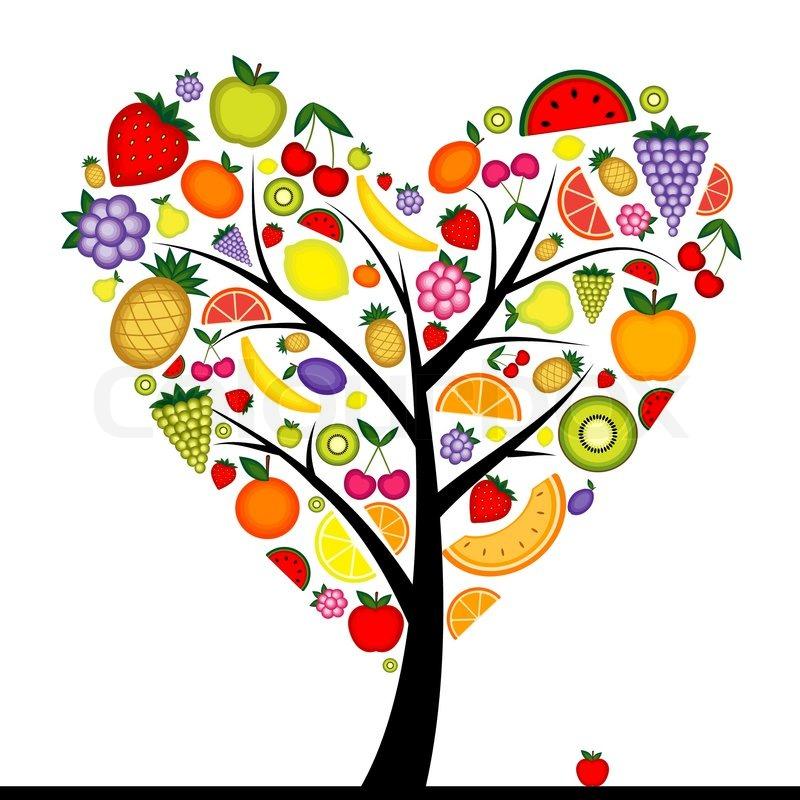 Energy fruit tree heart shape for your design.